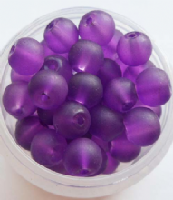 Frosted Glass Beads 6mm. Purple x 20